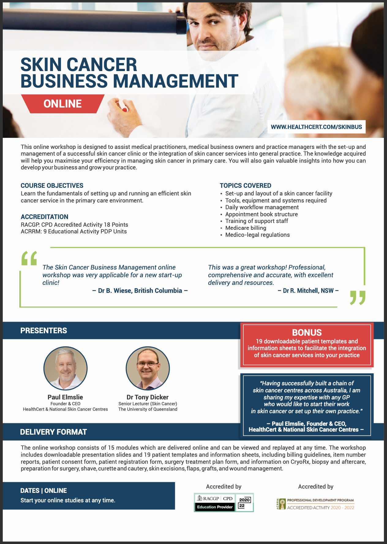 Skin Cancer Business Management Course Brochure