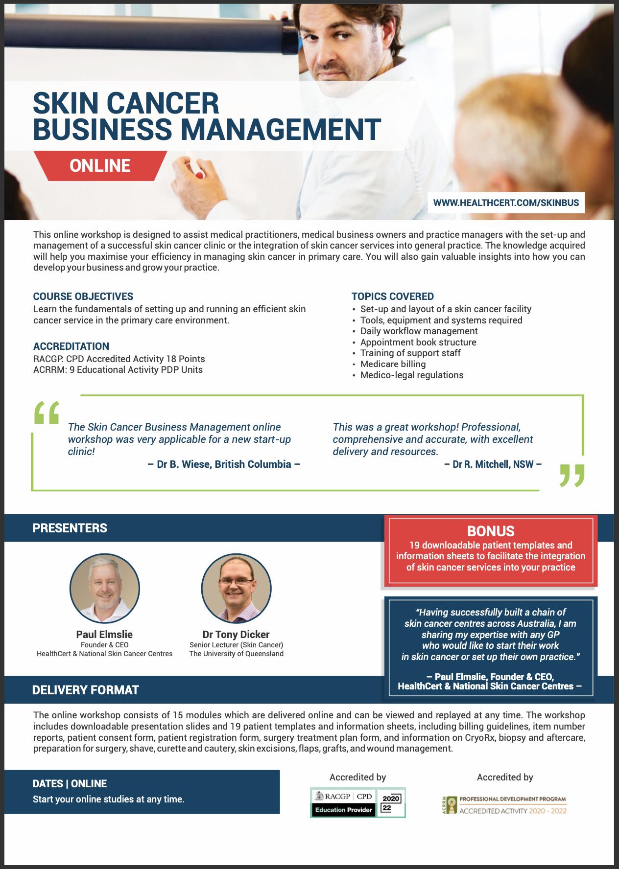 Skin Cancer Business Management Course Brochure